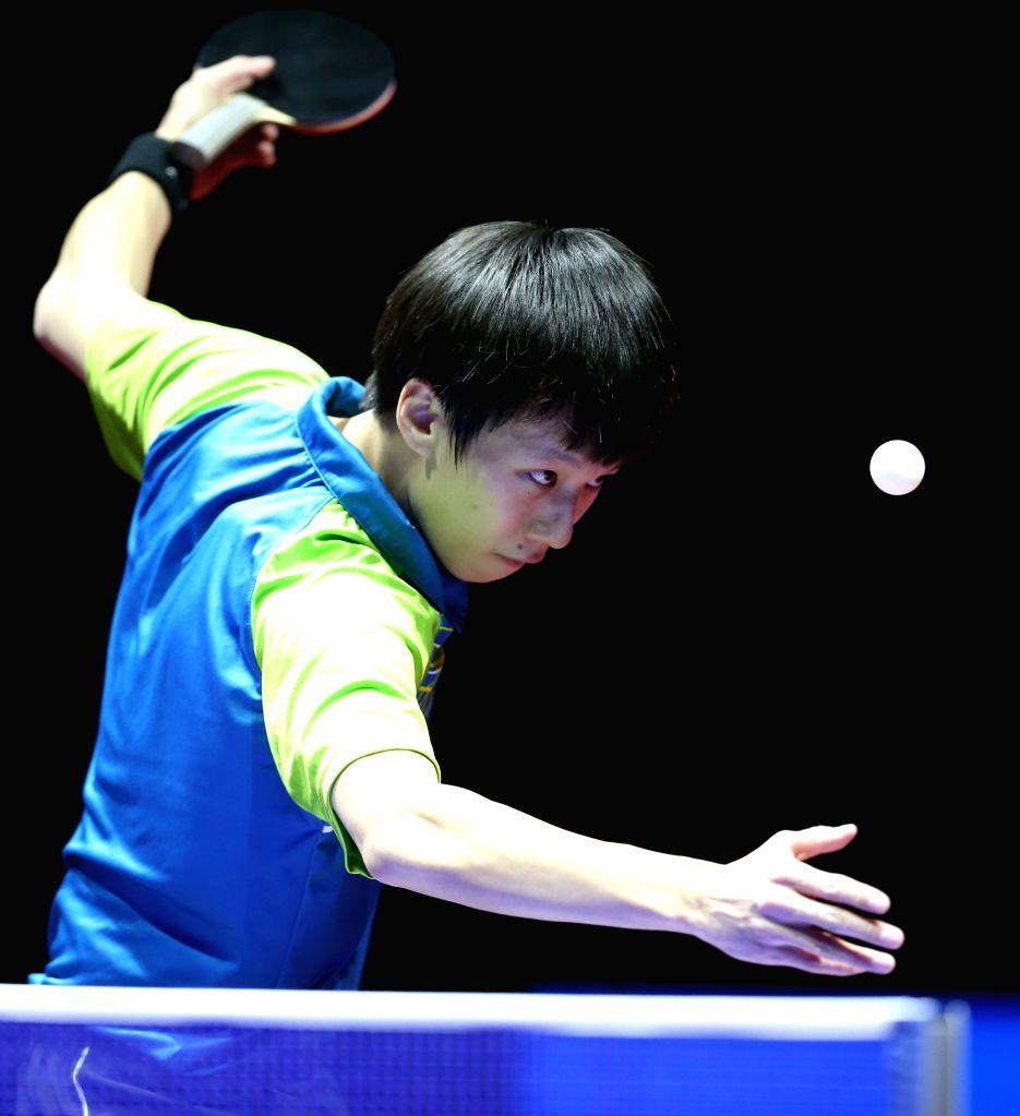 BEIJING, Feb. 1, 2019 - Lin Gaoyuan of Tianjin serves during the men's semifinal match between Bayi and Tianjin at Chinese Table Tennis Super League (CTTSL) in Beijing, capital of China, Feb. 1, ...