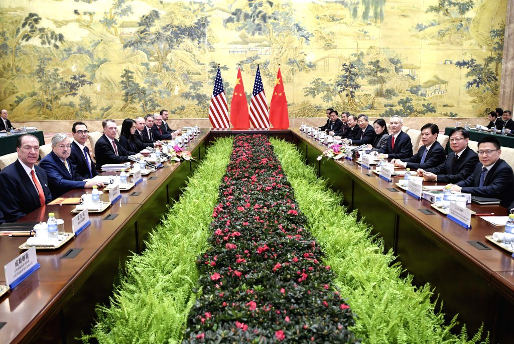 BEIJING, Feb. 14, 2019 (Xinhua) -- Chinese Vice Premier Liu He, also a member of the Political Bureau of the Communist Party of China Central Committee and chief of the Chinese side of the China-U.S. comprehensive economic dialogue, U.S. Trade Repres