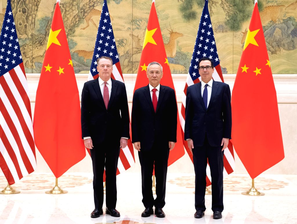 BEIJING, Feb. 14, 2019 (Xinhua) -- Chinese Vice Premier Liu He (C), also a member of the Political Bureau of the Communist Party of China Central Committee and chief of the Chinese side of the China-U.S. comprehensive economic dialogue, U.S. Trade Re