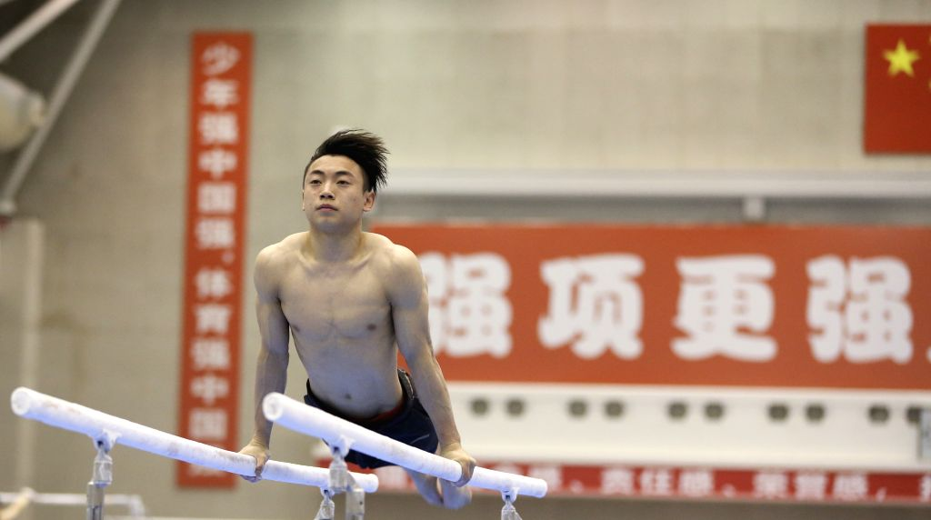 BEIJING, Feb. 6, 2019 - Zou Jingyuan of Chinese national artistic gymnastics team attends a training session in Beijing, capital of China, Feb. 6, 2018.