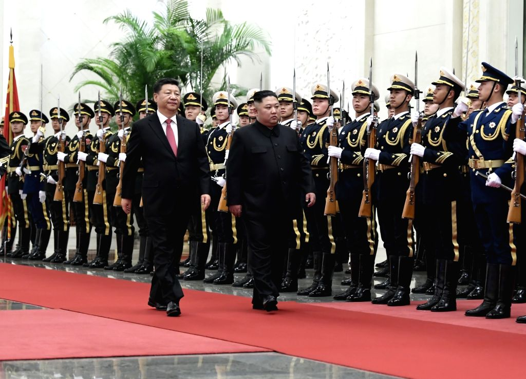 BEIJING, Jan. 10, 2019 (Xinhua) -- Xi Jinping, general secretary of the Central Committee of the Communist Party of China and Chinese president, holds a welcoming ceremony for Kim Jong Un, chairman of the Workers' Party of Korea and chairman of the S