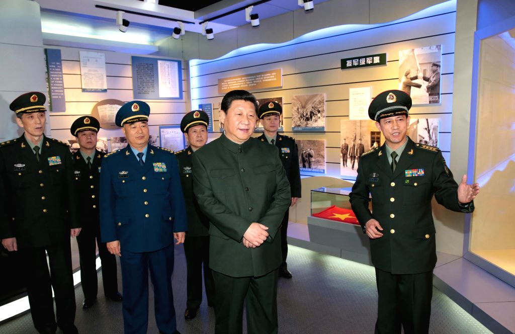 Chinese President Xi Jinping (2nd R, front), also general secretary of the Communist Party of China (CPC) Central Committee and chairman of the Central Military ...