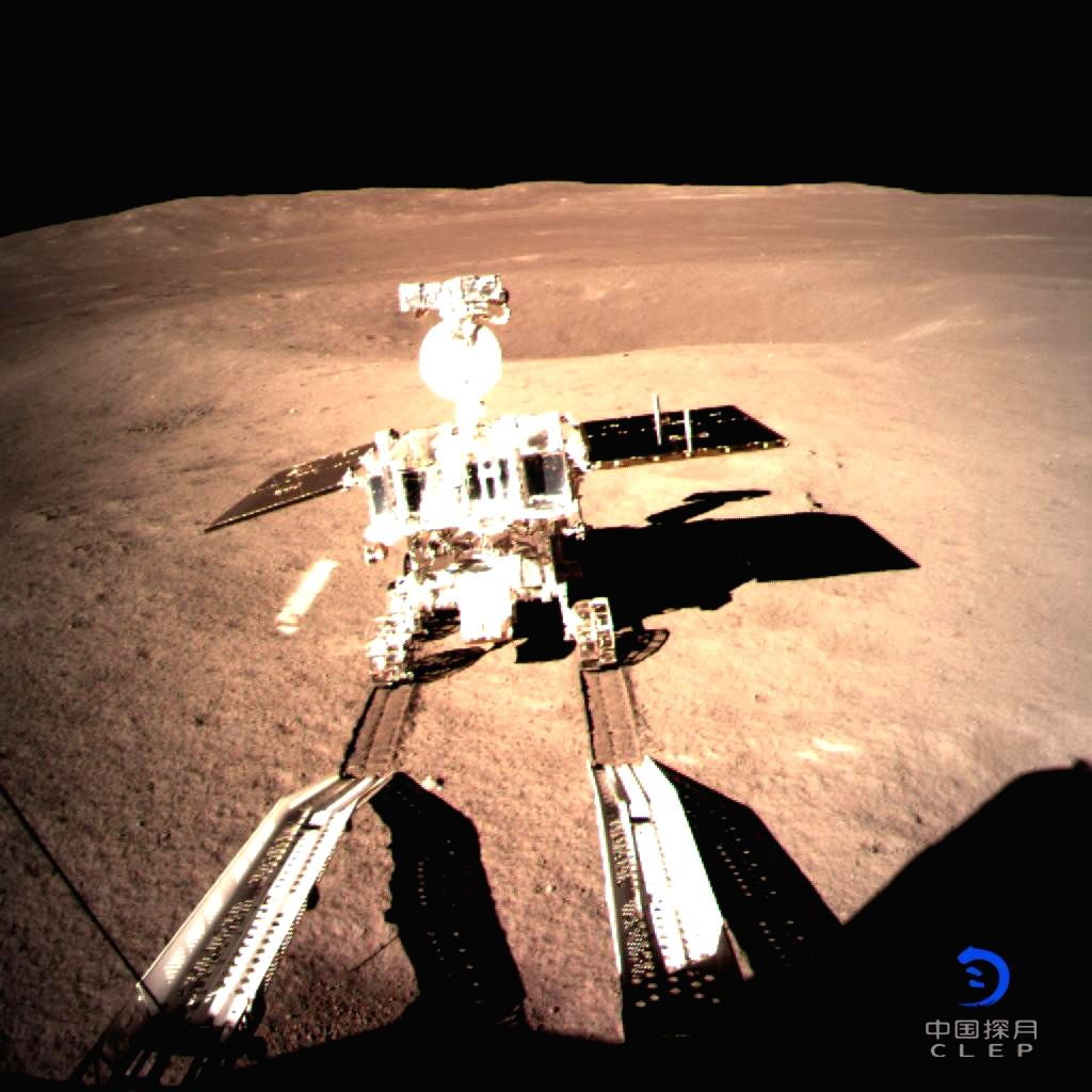 BEIJING, Jan. 4, 2019 (Xinhua) -- Photo provided by the China National Space Administration on Jan. 3, 2019 shows Yutu-2, China's lunar rover, leaving a trace after touching the surface of the far side of the moon. China's lunar rover, Yutu-2, or Jad