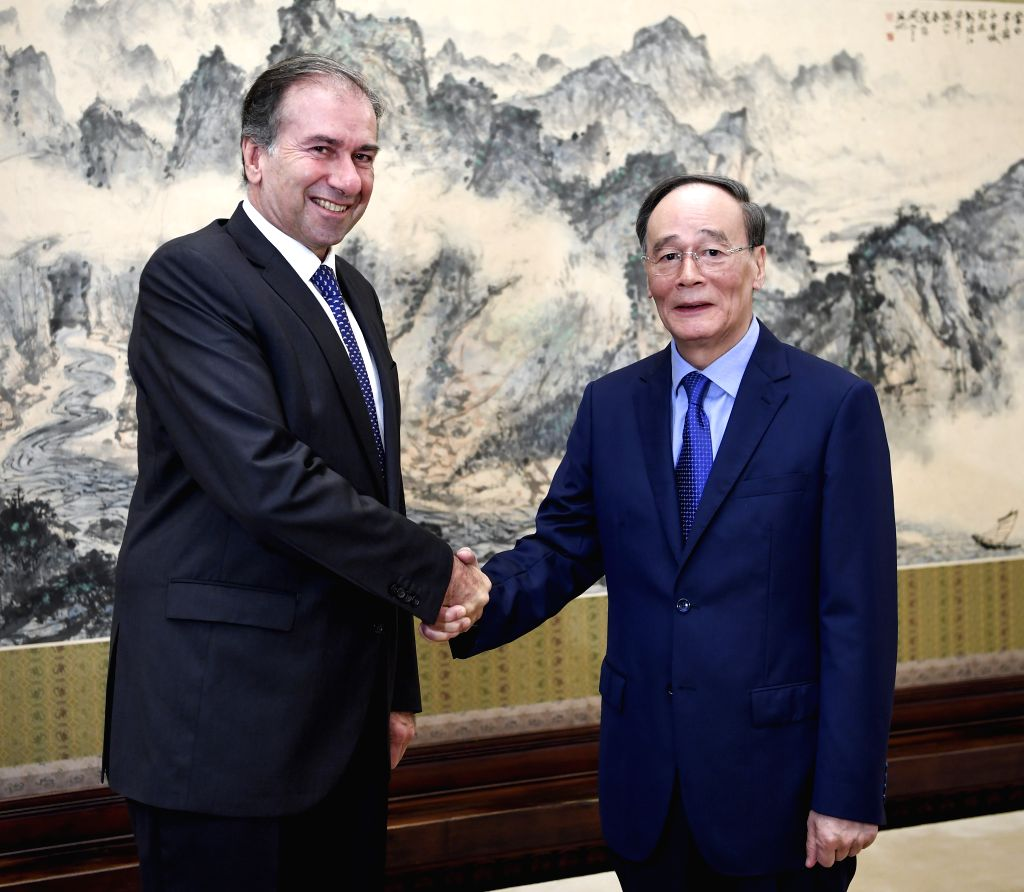 BEIJING, July 16, 2018 - Chinese Vice President Wang Qishan (R) meets with a visiting delegation of Republican Proposal party of Argentina in Beijing, capital of China, July 16, 2018. The delegation ...