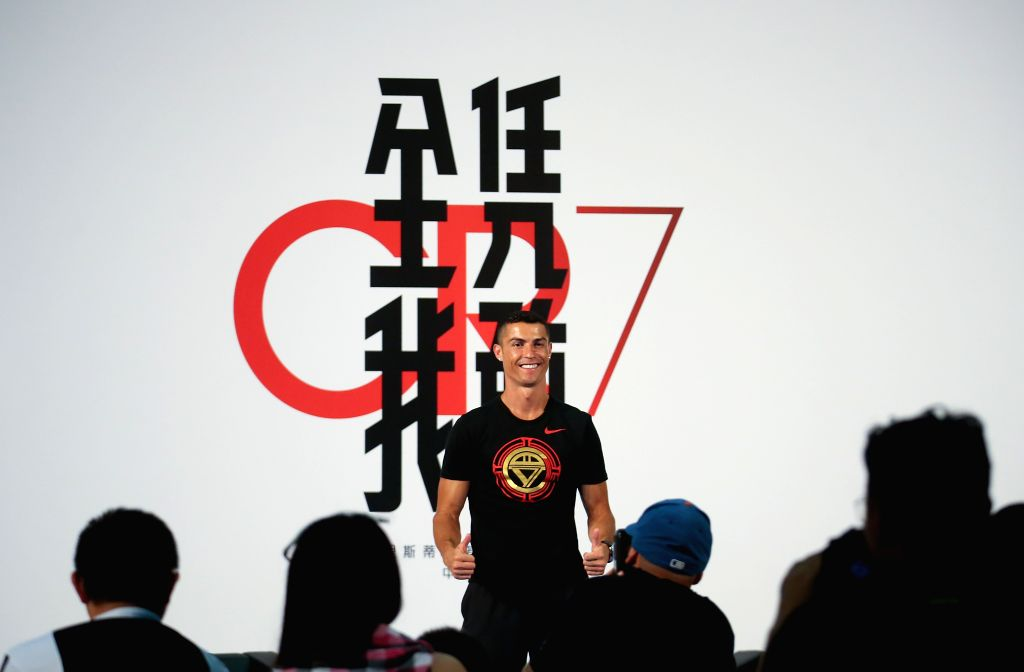 BEIJING, July 19, 2018 - Portuguese football player Cristiano Ronaldo gestures as he attends a promotional event in Beijing, capital of China, on July 19, 2018.
