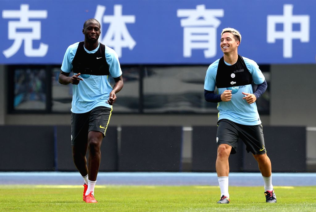 BEIJING, July 24, 2016 - Samir Nasri (R) and Yaya Toure of Manchester City take part in the training session for the match against Manchester United FC of 2016 International Champions Cup China ...
