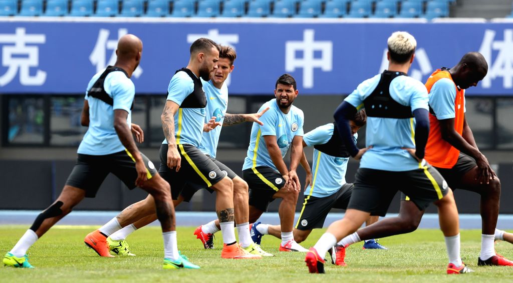 BEIJING, July 24, 2016 - Sergio Aguero (C) of Manchester City takes part in the training session for the match against Manchester United FC of 2016 International Champions Cup China soccer tournament ...