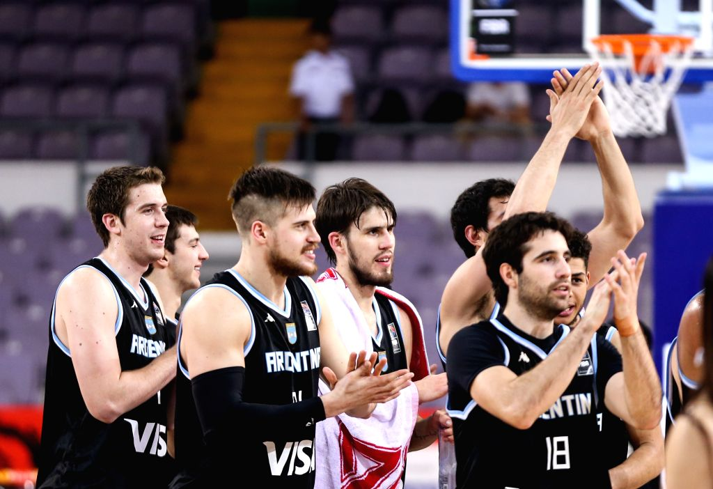 BEIJING, July 6, 2016 - Players of Argentina celebrate their victory over Nigeria after their match at 2016 Stankovic Continental Cup Basketball Tournament in Beijing, China, on July 6, 2016. ...
