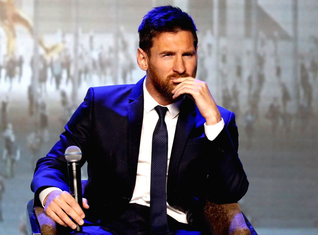 BEIJING, June 1, 2017 - FC Barcelona's striker Lionel Messi of Argentina reacts during a press conference of Messi China Tour in Beijing, captial of China, on June 1, 2017.
