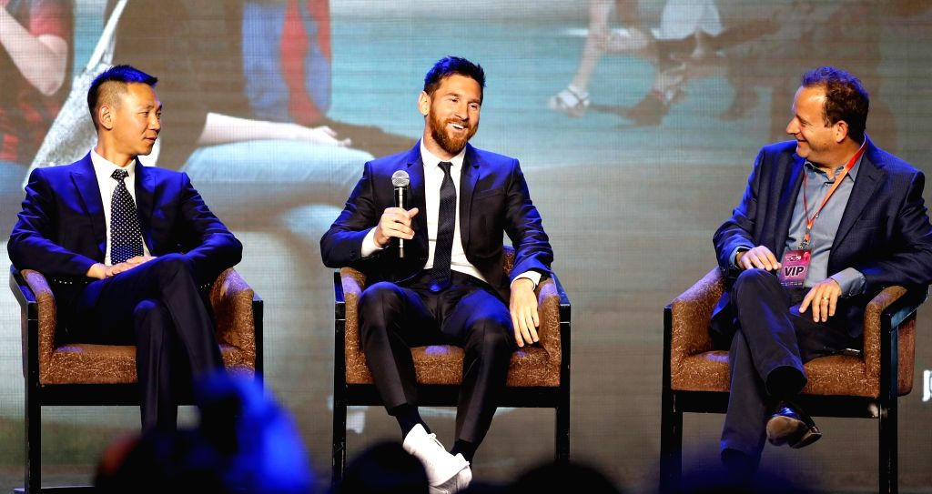 BEIJING, June 1, 2017 - FC Barcelona's striker Lionel Messi(C) of Argentina reacts during a press conference of Messi China Tour in Beijing, captial of China, on June 1, 2017.