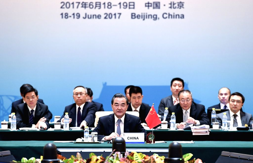 BEIJING, June 19, 2017 - Chinese Foreign Minister Wang Yi (front) addresses the opening ceremony of the Meeting of BRICS Ministers of Foreign Affairs in Beijing, capital of China, June 19, 2017. - Wang Y