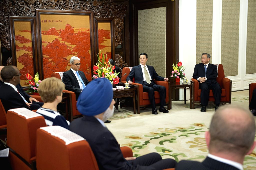 BEIJING, June 24, 2016 - Chinese Vice Premier Zhang Gaoli (back, 2nd R) meets with foreign representatives attending the first BRICS Supreme Audit Institutions Leaders Meeting in Beijing, capital of ...