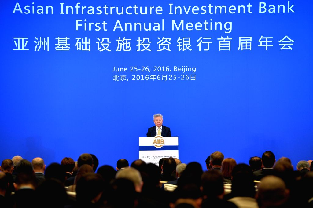 BEIJING, June 25, 2016 - AIIB President Jin Liqun speaks at the opening ceremony of the first Annual Meeting of the Board of Governors of the Asian Infrastructure Investment Bank (AIIB) in Beijing, ...