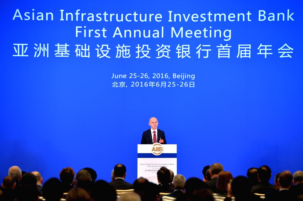 BEIJING, June 25, 2016 - Polish Minister of Finance Pawel Szalamacha speaks at the opening ceremony of the first Annual Meeting of the Board of Governors of the Asian Infrastructure Investment Bank ...