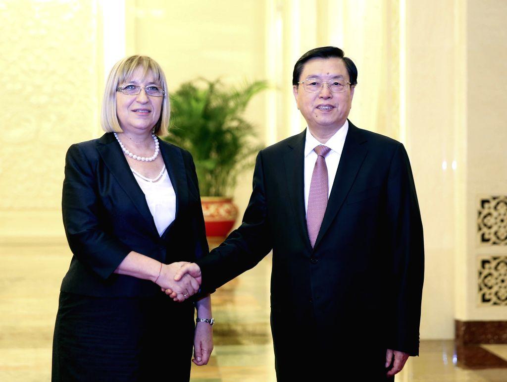 BEIJING, June 27, 2016 - Zhang Dejiang (R), chairman of the National People's Congress (NPC) Standing Committee, holds talks with visiting Bulgarian Parliament speaker Tsetska Tsacheva, in Beijing, ... - Tsetska Tsacheva