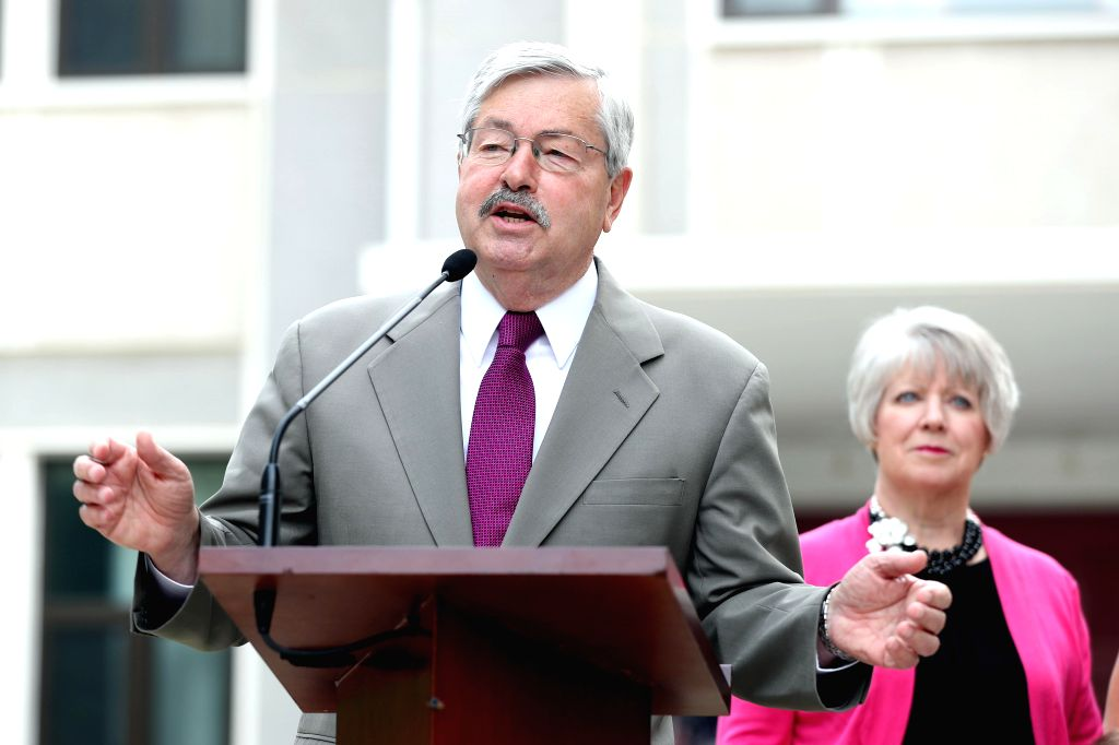 BEIJING, June 28, 2017 - U.S. Ambassador to China Terry Branstad (L) speaks to the media at his residence in Beijing, capital of China, June 28, 2017. (Xinhua/Zhang Yuwei)