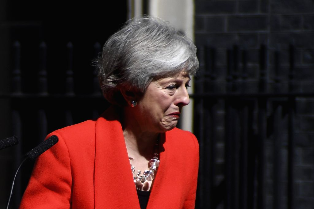 BEIJING, June 7, 2019 - File photo taken on May 24, 2019 shows British Prime Minister Theresa May speaking to the media outside 10 Downing Street in London, Britain. Theresa May on June 7 stepped ... - Theresa May