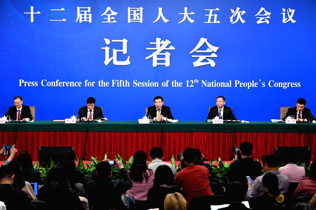 "BEIJING, March 11, 2017 - Miao Wei, Minister of Industry and Information Technology, Vice Minister Xin Guobin, and Zhang Feng, chief engineer and spokesman, take questions on ""Made in China ... - Xin Guobin"
