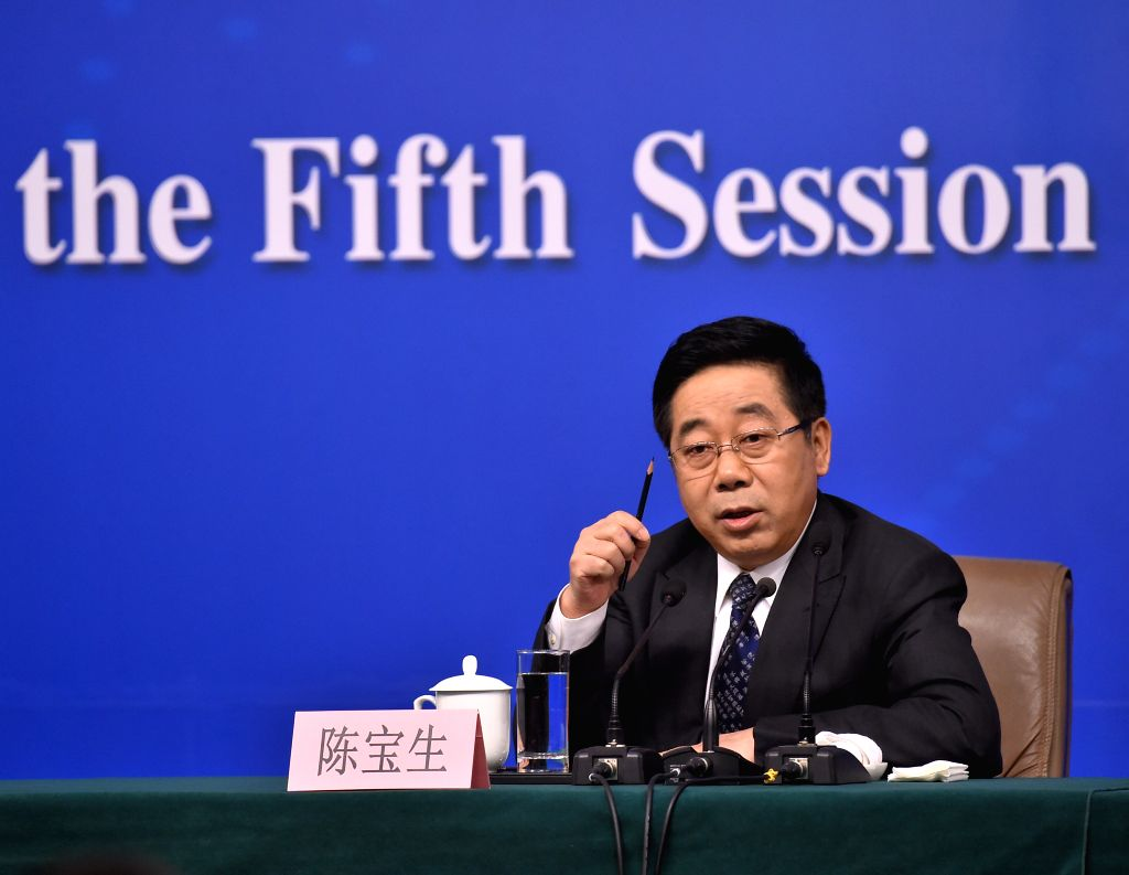 BEIJING, March 12, 2017 - Chinese Minister of Education Chen Baosheng answers questions at a press conference on education reform and development for the fifth session of the 12th National People's ...