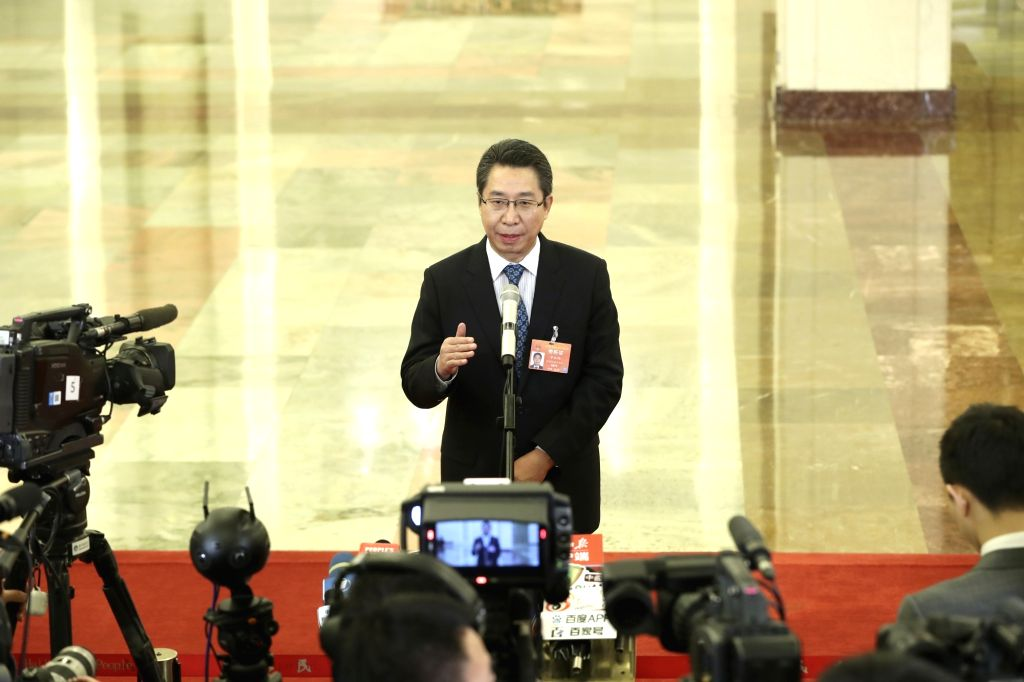 BEIJING, March 12, 2019 - Shen Changyu, head of the State Intellectual Property Office, receives an interview before the third plenary meeting of the second session of the 13th National People's ...
