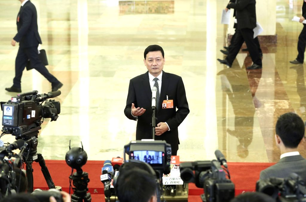 BEIJING, March 12, 2019 - Xiao Yaqing, head of the State-owned Assets Supervision and Administration Commission of the State Council, receives an interview before the third plenary meeting of the ...