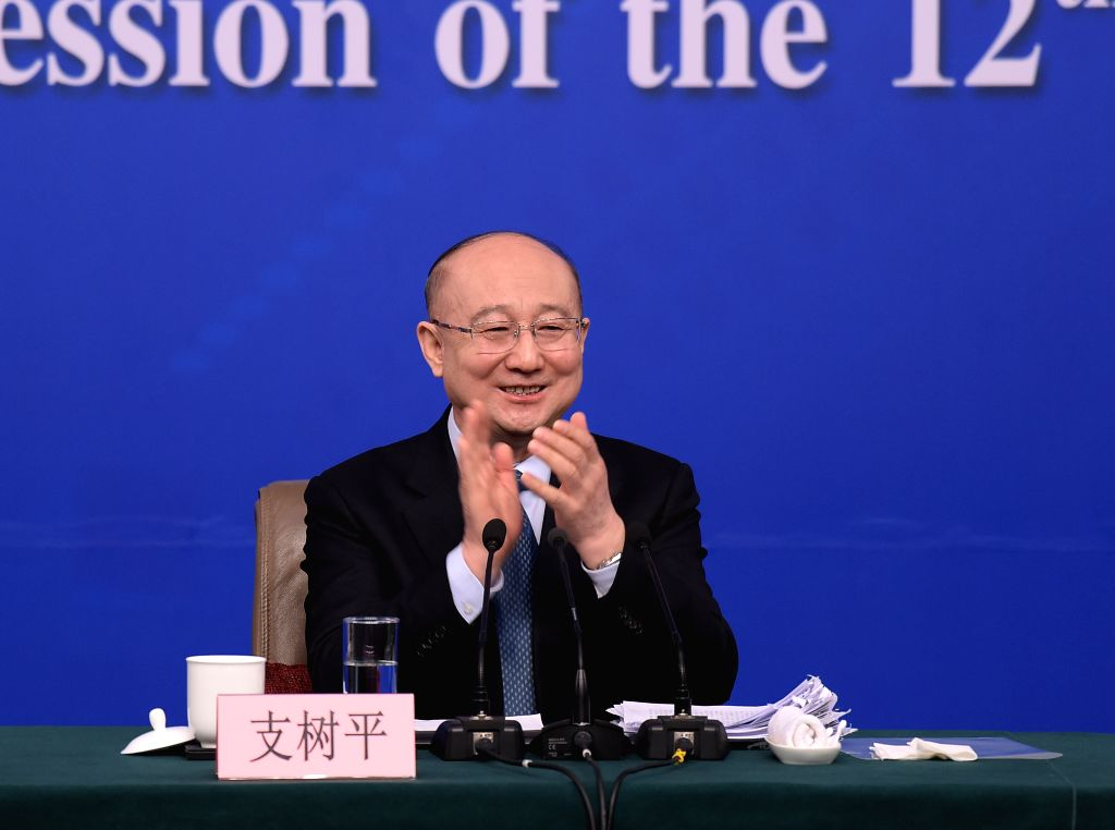 BEIJING, March 14, 2017 - Zhi Shuping, director of the General Administration of Quality Supervision, Inspection and Quarantine, attends a press conference on quality improvement for the fifth ...