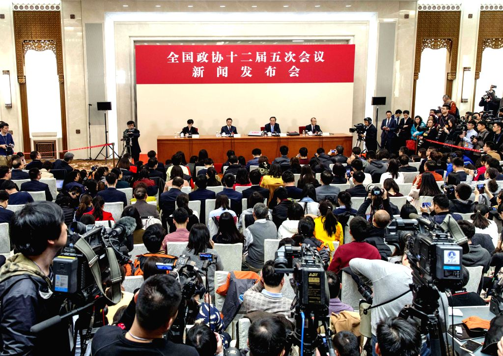 BEIJING, March 2, 2017 - The press conference on the fifth session of the 12th Chinese People's Political Consultative Conference (CPPCC) National Committee is held at the Great Hall of the People in ...