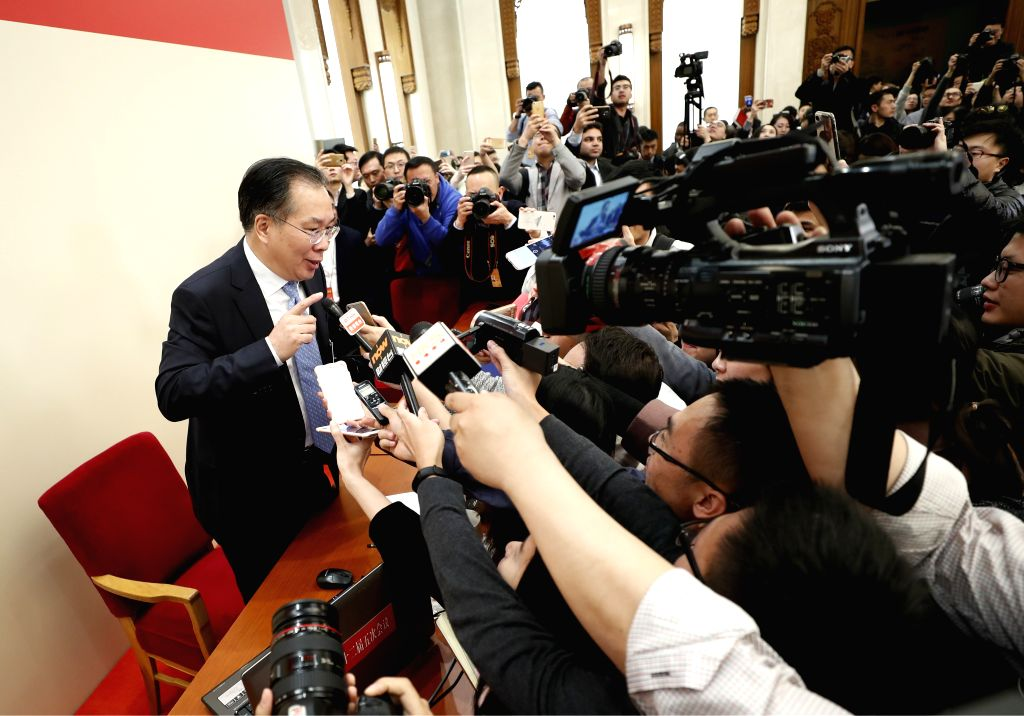 BEIJING, March 2, 2017 - Wang Guoqing, spokesperson for the fifth session of the 12th Chinese People's Political Consultative Conference (CPPCC) National Committee, communicates with journalists ...