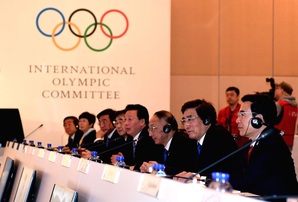 The Beijing 2022 Olympic Winter Games Bid Committee attend the closing ceremony of presentations for the International Olympic Committee (IOC) Evaluation ...