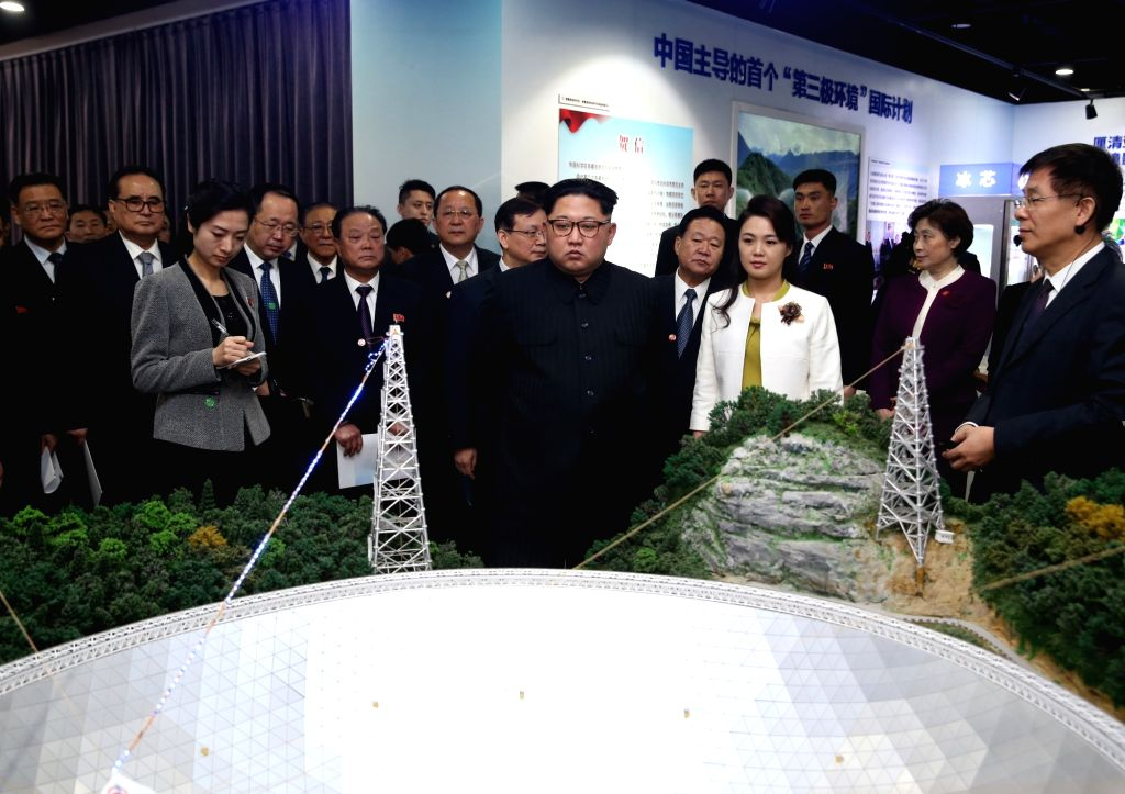 BEIJING, March 28, 2018 - Kim Jong Un, chairman of the Workers' Party of Korea (WPK) and chairman of the State Affairs Commission of the Democratic People's Republic of Korea (DPRK), visits an ...
