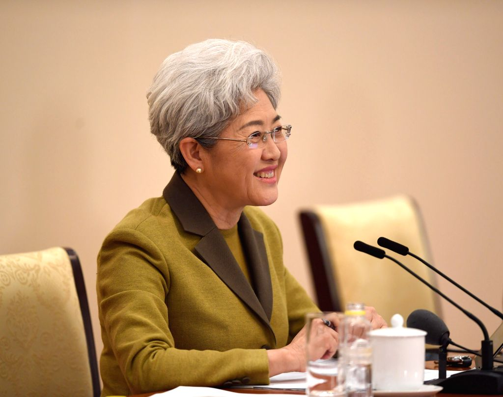 BEIJING, March 4, 2017 - Fu Ying, spokesperson for the fifth session of China's 12th National People's Congress (NPC), speaks during a press conference on the session at the Great Hall of the People ...
