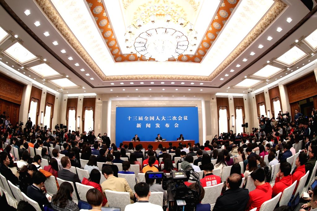 BEIJING, March 4, 2019 - Zhang Yesui, spokesperson for the second session of the 13th National People's Congress (NPC), attends a press conference on the agenda of the session and the work of the NPC ...