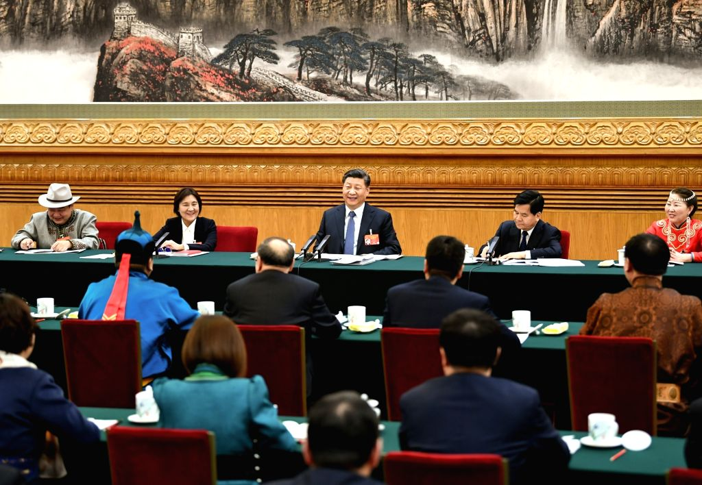 BEIJING, March 5, 2019 - Chinese President Xi Jinping, also general secretary of the Communist Party of China (CPC) Central Committee and chairman of the Central Military Commission, attends a panel ...