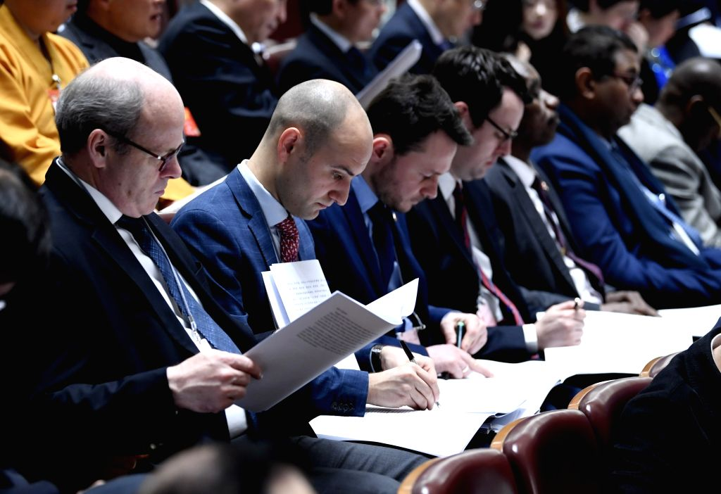 BEIJING, March 5, 2019 - Foreign ambassadors and diplomats are present at the opening meeting of the second session of the 13th National People's Congress at the Great Hall of the People in Beijing, ...