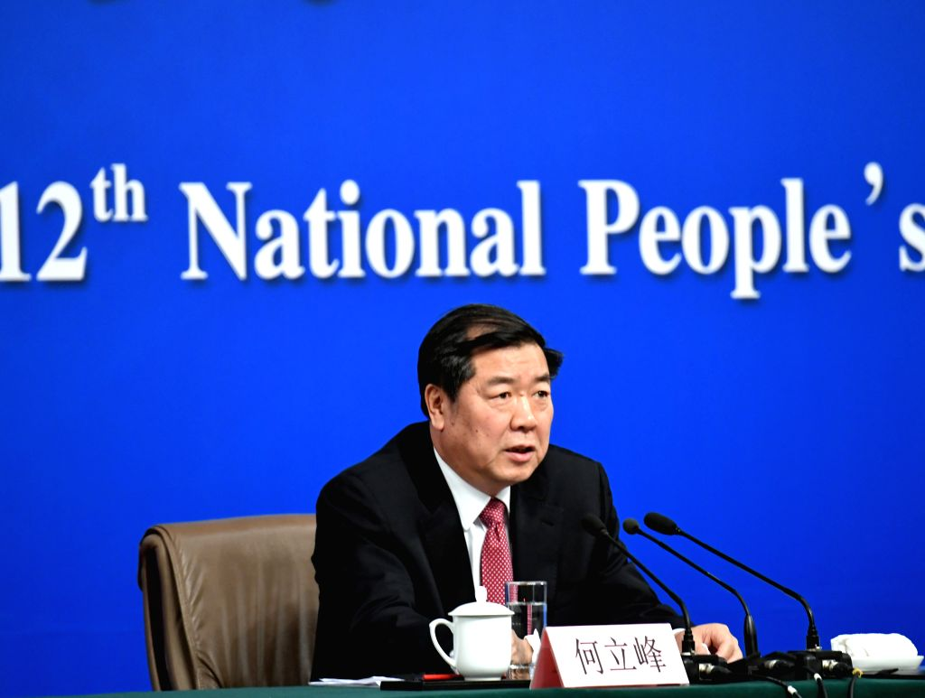 BEIJING, March 6, 2017 - Director of the National Development and Reform Commission (NDRC) He Lifeng answers questions during a press conference on China's economic and social development and ...