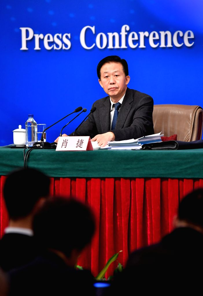 BEIJING, March 7, 2017 - Chinese Minister of Finance Xiao Jie takes questions on reform of fiscal and taxation system and financial work at a press conference for the fifth session of the 12th ...
