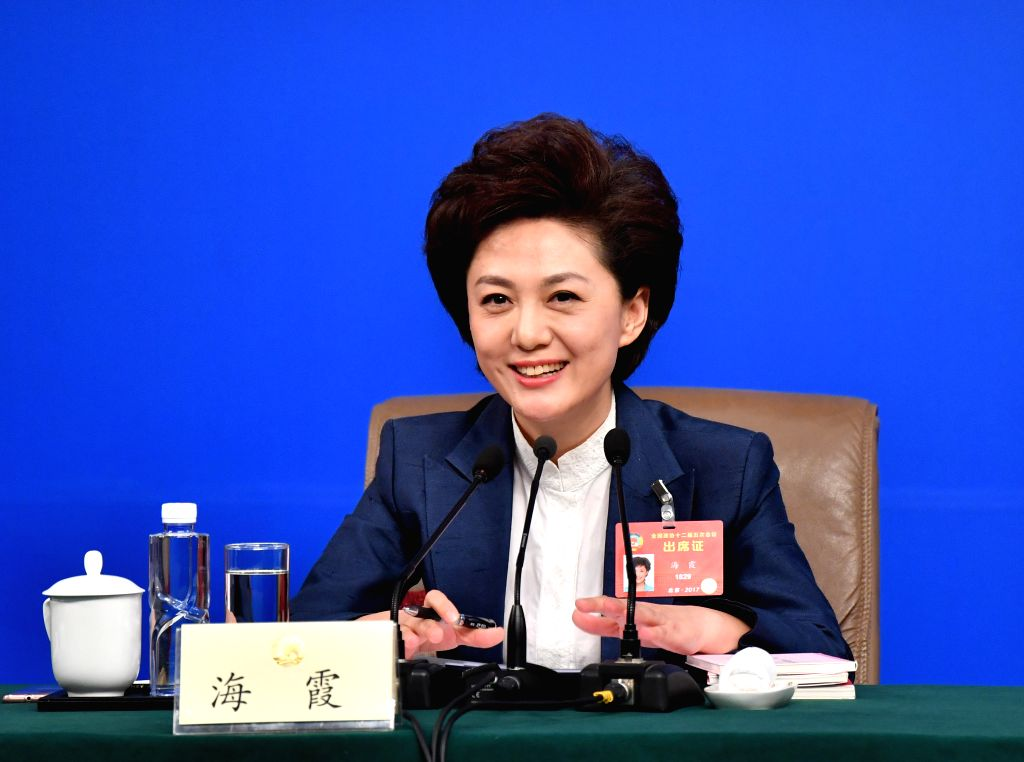 BEIJING, March 7, 2017 - Hai Xia, a member of the 12th National Committee of the Chinese People's Political Consultative Conference (CPPCC), attends a press conference for the fifth session of the ...