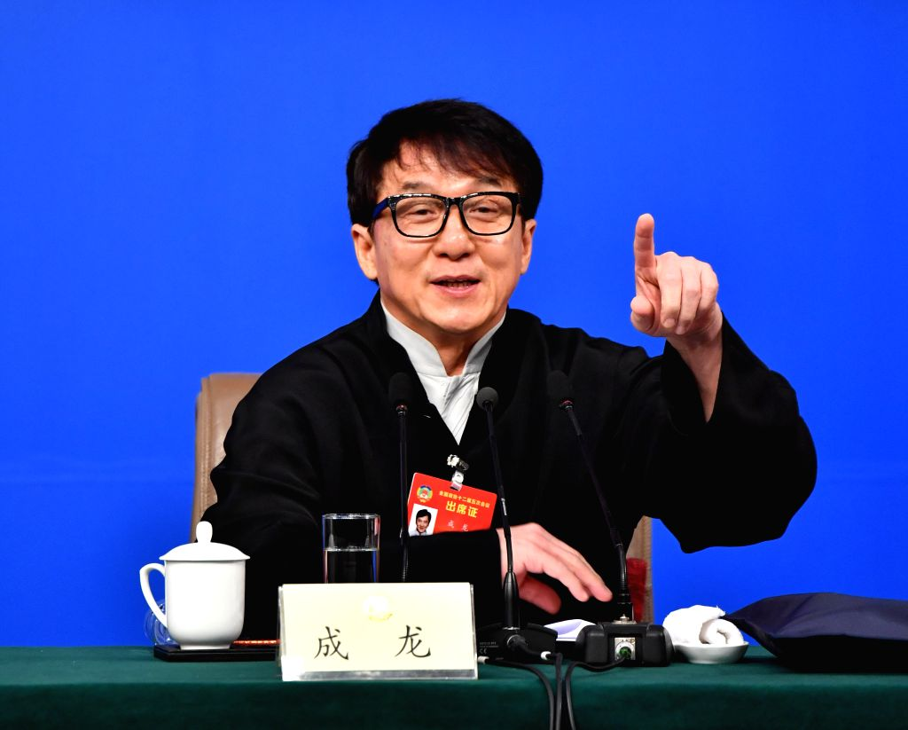BEIJING, March 7, 2017 - Jackie Chan, a member of the 12th National Committee of the Chinese People's Political Consultative Conference (CPPCC), attends a press conference for the fifth session of ...