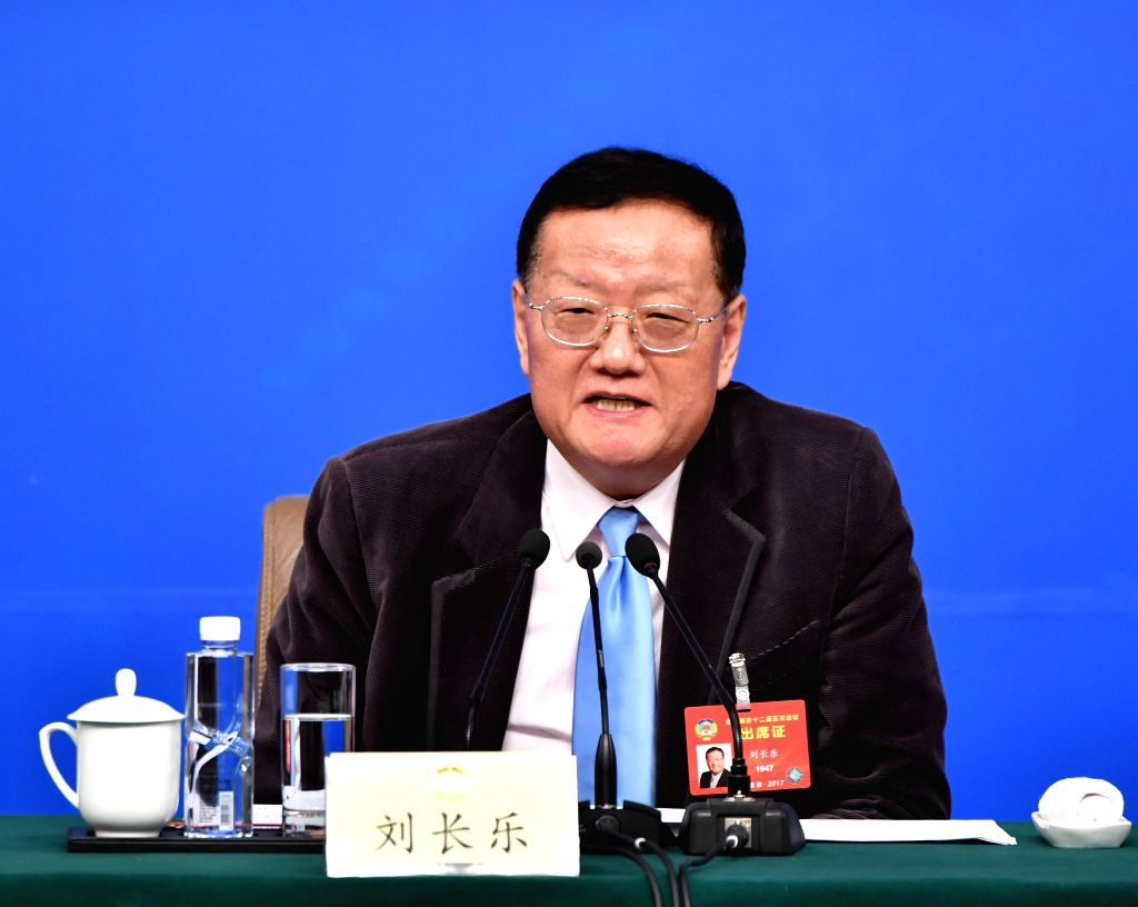 BEIJING, March 7, 2017 - Liu Changle, a member of the 12th National Committee of the Chinese People's Political Consultative Conference (CPPCC), attends a press conference for the fifth session of ...