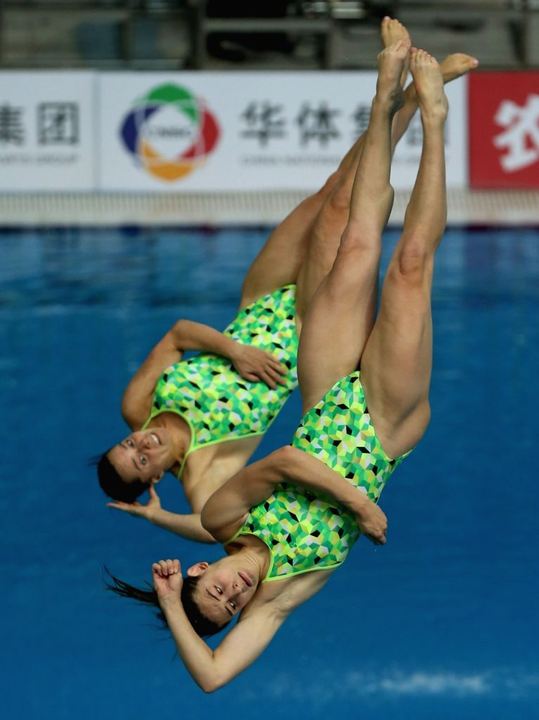 BEIJING, March 7, 2019 - Maddison Keeney (bottom)/Anabelle Smith of Australia during the women's 3m synchronised springboard final of the FINA Diving World Series 2019 at the National Aquatics Center ...