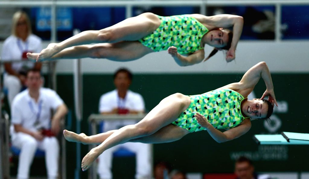 BEIJING, March 7, 2019 - Maddison Keeney (top)/Anabelle Smith of Austria compete during the women's 3m synchro springboard final at the FINA Diving World Series 2019 at the National Aquatics Center ...