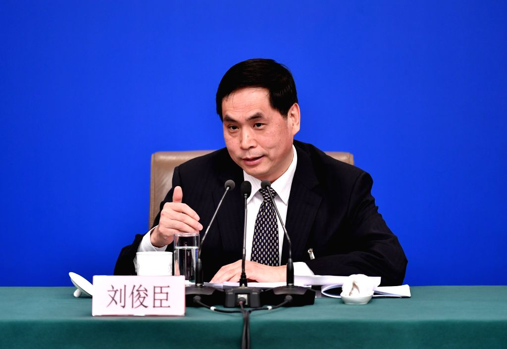 BEIJING, March 9, 2019 - Liu Junchen, vice chairman of Legislative Affairs Commission of the National People's Congress (NPC) Standing Committee, attends a press conference on the legislative work of ...