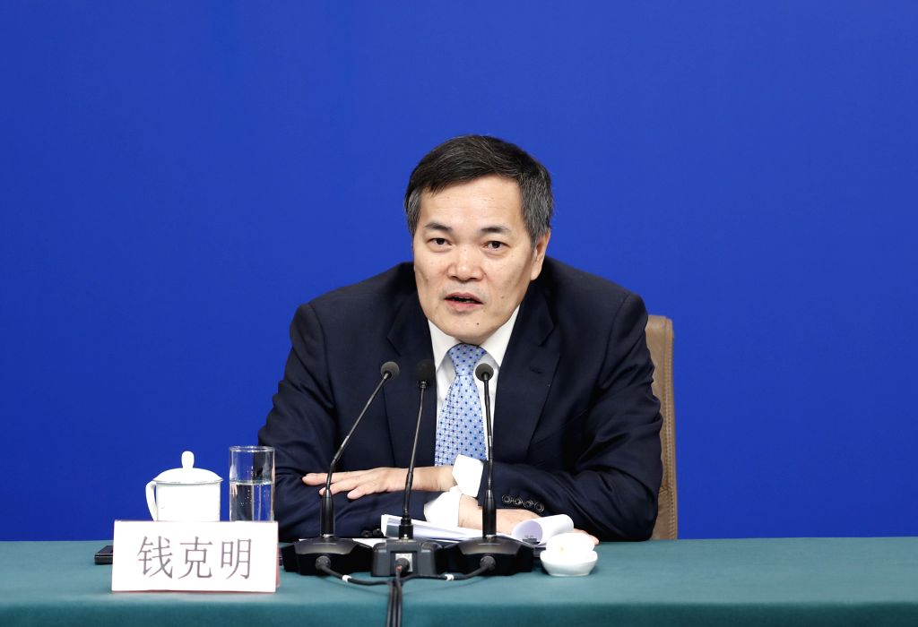 BEIJING, March 9, 2019 - Vice Minister of Commerce Qian Keming attends a press conference on China's domestic market and all-round opening-up for the second session of the 13th National People's ...