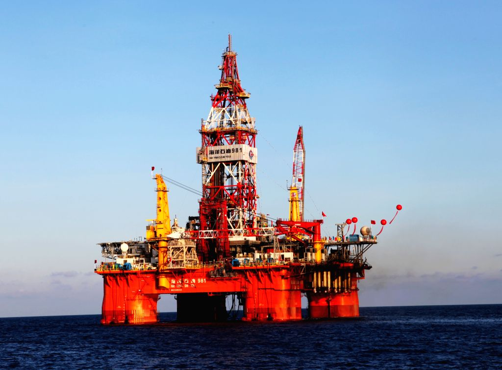File photo shows the 981 drilling platform of China Oilfield Services Limited (COSL), 17 nautical miles (some 31 kilometers) from Zhongjian Island of China's Xisha ..