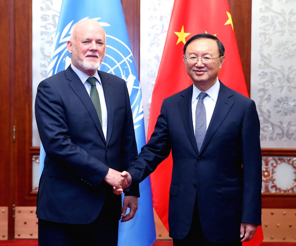 BEIJING, May 12, 2017 - Chinese State Councilor Yang Jiechi (R) meets with Peter Thomson, president of the UN General Assembly, in Beijing, capital of China, May 12, 2017. Peter Thomson is in Beijing ...