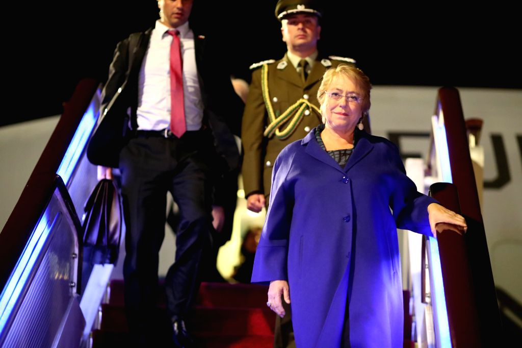 BEIJING, May 13, 2017 - Chilean President Michelle Bachelet(front) arrives in Beijing, capital of China, May 12, 2017, to pay state visit to China and attend the upcoming Belt and Road Forum for ...