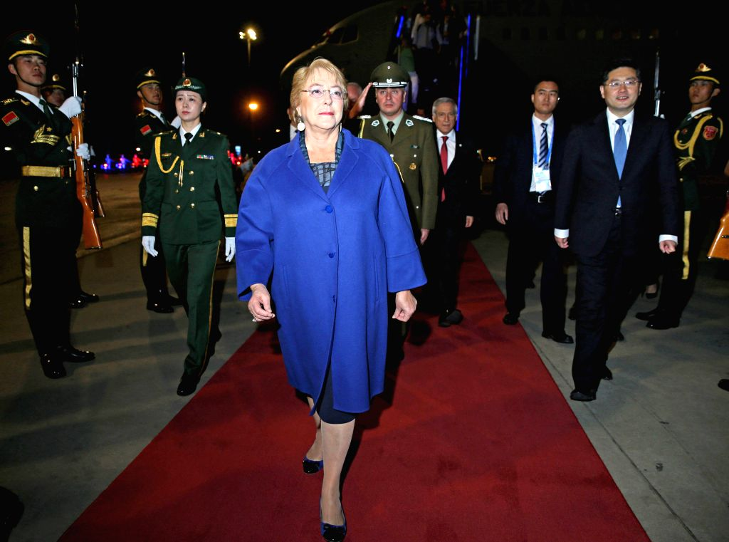 BEIJING, May 13, 2017 - Chilean President Michelle Bachelet arrives in Beijing, capital of China, May 12, 2017, to pay state visit to China and attend the upcoming Belt and Road Forum for ...