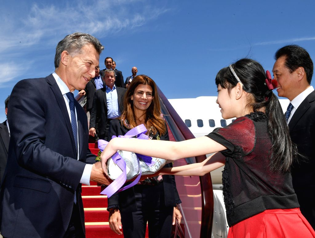 BEIJING, May 14, 2017 - Argentinean President Mauricio Macri arrives in Beijing, capital of China, May 14, 2017, to attend the Belt and Road Forum (BRF) for International Cooperation and pay a state ...