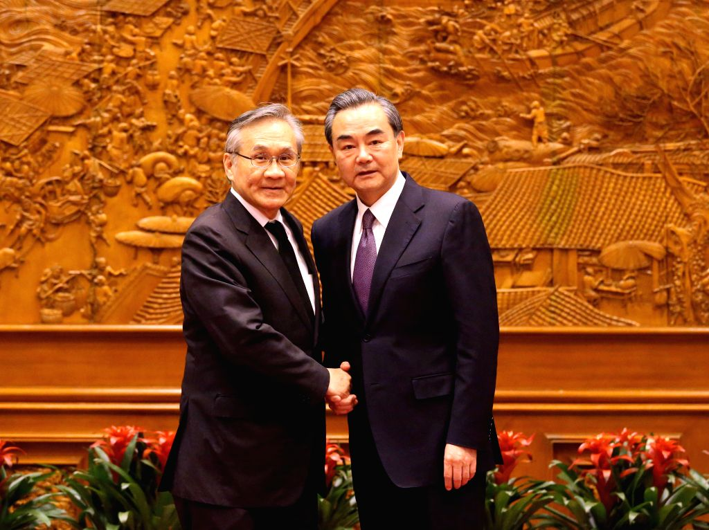 BEIJING, May 14, 2017 - Chinese Foreign Minister Wang Yi (R) meets with his Thai counterpart Don Pramudwinai, who is here for the Belt and Road Forum (BRF) for International Cooperation, in Beijing, ... - Wang Y