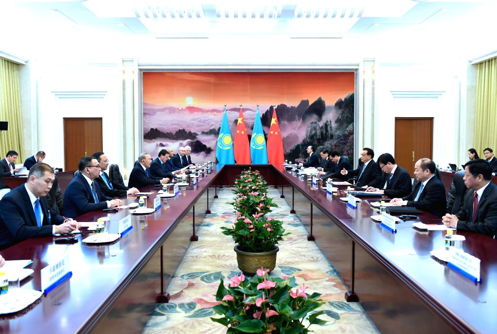 BEIJING, May 14, 2017 - Chinese Premier Li Keqiang meets with Kazakh President Nursultan Nazarbayev, who is here for the Belt and Road Forum (BRF) for International Cooperation, at the Great Hall of ...